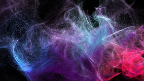 Clouds of varicolored dust in the dark, 3d illustration. 3d illustration on the abstract theme of beautiful particles Royalty Free Stock Images