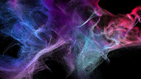 Clouds of varicolored dust in the dark, 3d illustration. 3d illustration on the abstract theme of beautiful particles Royalty Free Stock Image