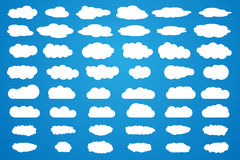 Clouds vector big set. White icons on blue background stock illustration