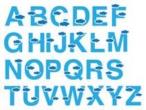 Clouds Vector Font Design. Vector font design in blue with floating cloud design. Complete set of 26 alphabets in capital letters  on white background Royalty Free Stock Images