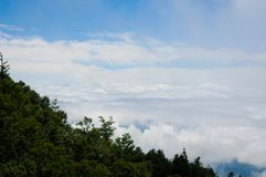 Clouds view from Mt. Fuji`s Half Way to the Top in Shizuka, Japan. Mt. Fuji is the most famous mountain in Japan. The season for. Hiking is during spring to royalty free stock images