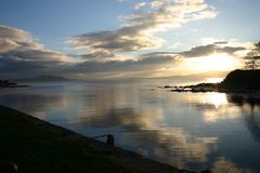 Clouds on the water. Image from Buncrana, Co. Donegal, Ireland royalty free stock photos