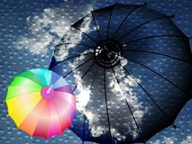 Clouds water drops and an umbrella with a rainbow umbrella. abstract vector illustration. stock illustration