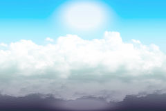 Clouds on the water. Thick clouds dropped on the water surface and are reflected in it, a great and a bit dim the sun is positioned above them, illustration done Stock Photo