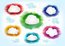 Clouds with watercolor splatters Stock Images