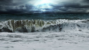 Clouds waves. Photo: clouds waves, competition for sun and clouds Stock Photos