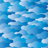 Clouds and waves. Abstract background. Abstract background. Blue and dark blue clouds and waves with gradient and gold contour.Can be scaled to any size Royalty Free Illustration