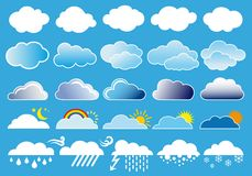 Clouds and weather symbols, vector Stock Photography