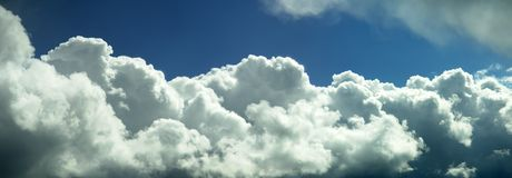 Clouds White Fluffy Panorama Stock Photography