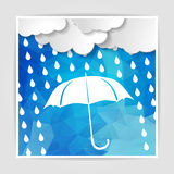 Clouds with white umbrella and rain drops on the Blue Polygonal Stock Images