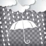 Clouds with white umbrella and rain drops on a chequered backgro Stock Photo