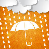 Clouds with white umbrella and rain drops on orange s Royalty Free Stock Image