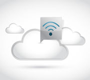 Clouds and wifi message illustration design Royalty Free Stock Photo