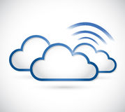 Clouds and wifi signal sign illustration Stock Photos
