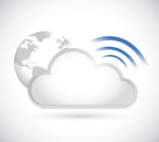 Clouds and wifi signal sign illustration Royalty Free Stock Photos