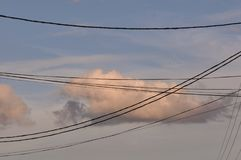 Clouds with wire Stock Images