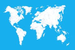Clouds World Map. World map shaped clouds on blue background royalty free stock photo