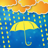 Clouds with yellow umbrella and rain drops Stock Image