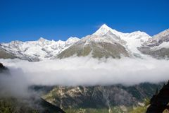 Clouds in the Zermatt valley Stock Photos