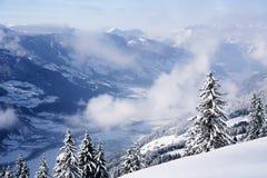 Clouds in Zillertal Arena ski resort in Austria. Clouds in Zillertal Arena ski resort in Zillertal in Tyrol. Mayrhofen in Austria in winter, in Alps. Alpine stock images