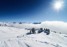 Clouds at Zillertal Arena ski resort Austria. Clouds at Zillertal Arena ski resort in Zillertal in Tyrol. Mayrhofen in Austria in winter in Alps. Alpine royalty free stock image