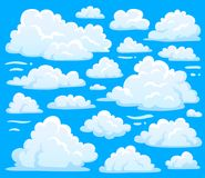 cloudscape背景的白色云彩标志 动画片覆盖多云天空气候例证传染媒介的符号集 库存例证