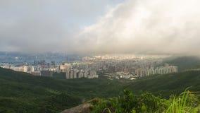 Cloudscape över Hong Kong timelapse arkivfilmer