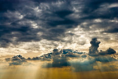 Cloudscape. With sun ray shining through Royalty Free Stock Images