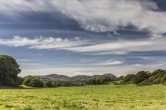 Cloudscape au-dessus de champ vert de pâturage près d'Auchencairn Images libres de droits