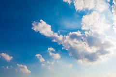 Cloudscape Background - Blue Sky and White Clouds Royalty Free Stock Photos