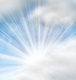 Cloudscape Background with Sun Rays Royalty Free Stock Photo