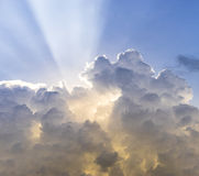 Cloudscape. Beautiful sky cloudscape with sun ray Royalty Free Stock Image