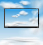 Cloudscape with Black Tablet PC Computer Stock Images