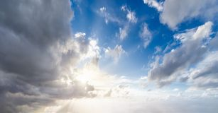 Cloudscape with blue sky and clouds. Background of cloudscape with blue sky and clouds stock photo