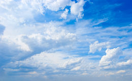 Cloudscape. Blue sky and white cloud. Stock Photos