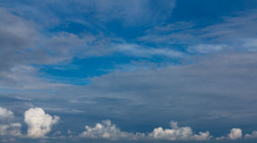 Cloudscape. Blue sky and white cloud. Sunny day. Stock Photography