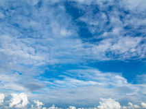 Cloudscape. Blue sky and white cloud. Sunny day. Royalty Free Stock Photo