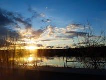 Cloudscape bonito paisagem do por do sol com floresta fotografia de stock royalty free