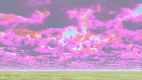Cloudscape. Colorful clouds above green horizon. This image created in entirety by me and is entirely owned by me and is entirely legal for me to sell and Stock Photo