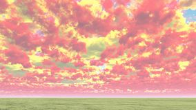 Cloudscape. Colorful red and yellow clouds above horizon Stock Images