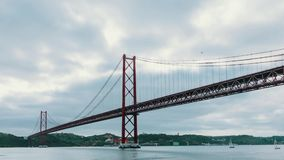 Cloudscape on the 25 de Abril Bridge in Lisbon stock video footage