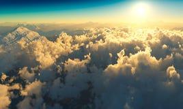 Cloudscape dramático nas montanhas 3d da alta altitude de Noruega que rendem o fundo ilustração royalty free