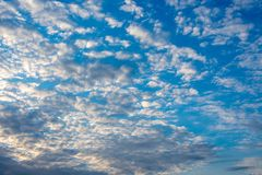 Cloudscape in the evening with blue sky. Location: Germany, North Rhine-Westphalia stock images