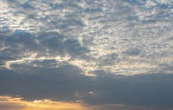 Cloudscape in the evening. Location: Germany, North Rhine-Westphalia royalty free stock photo