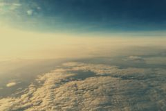 Cloudscape. High altitude view of cloudscape from an airplane Stock Photos