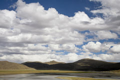 Cloudscape with a lake. Beautiful cloudscape in tibet, china Royalty Free Stock Photos