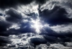 Cloudscape with a Light Royalty Free Stock Photo