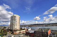 Cloudscape met Rivier Fraser Stock Fotografie