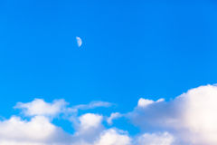 Cloudscape and Moon Royalty Free Stock Photography