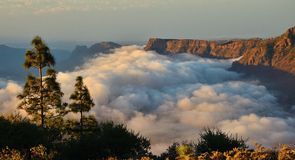 Cloudscape on the mountains of Gran canaria, Canary islands. Landscape of clouds and mountains Stock Photos